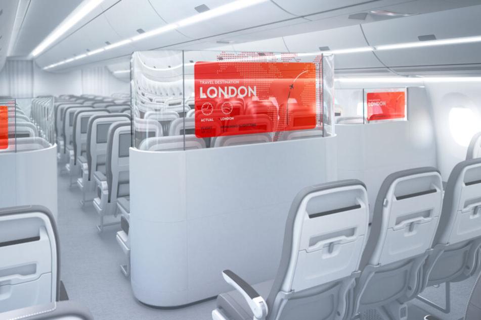 Diese modernen Trennwände wurden von der Lufthansa und LG gemeinsam entwickelt.