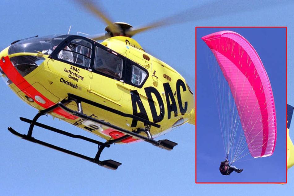 Der Gleitschirmflieger (51) musste mit dem Hubschrauber in eine Klinik geflogen werden (Symbolbild).