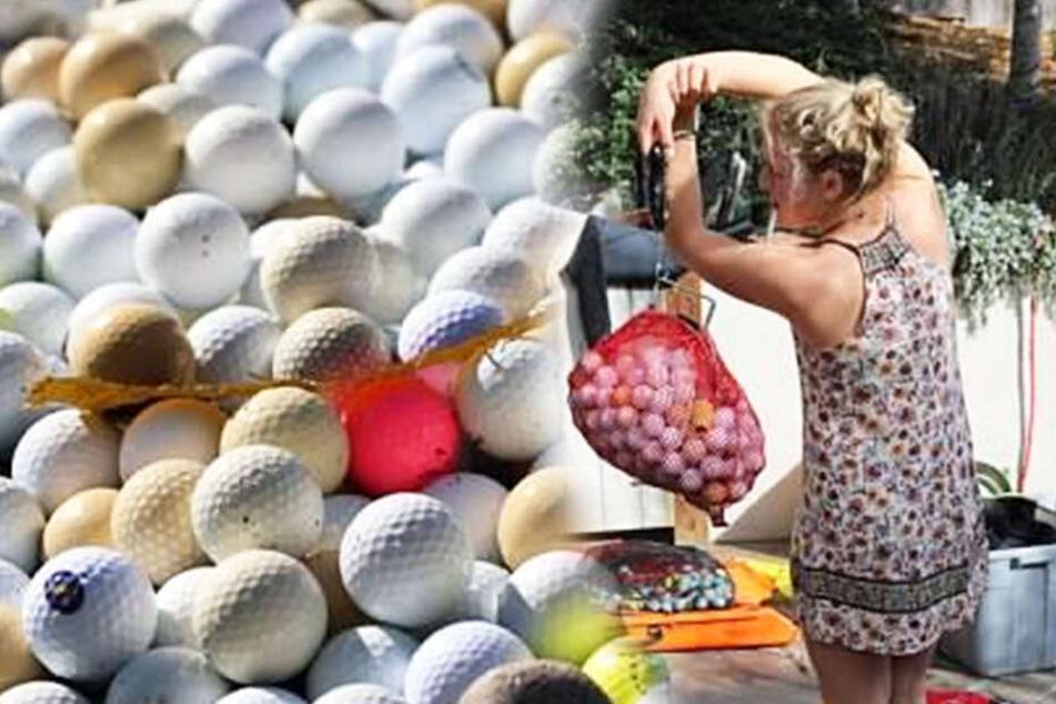 Alex Weber (re.) sammelt seit einiger Zeit Golfbälle aus dem Meer. Hier wiegt sie einen Beutel voller Bälle.