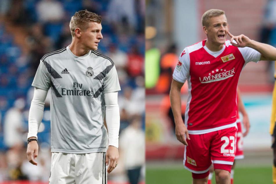 Während Toni Kroos (links) bei Real Madrid spielt, trägt Bruder Felix das Trikot von Union Berlin.