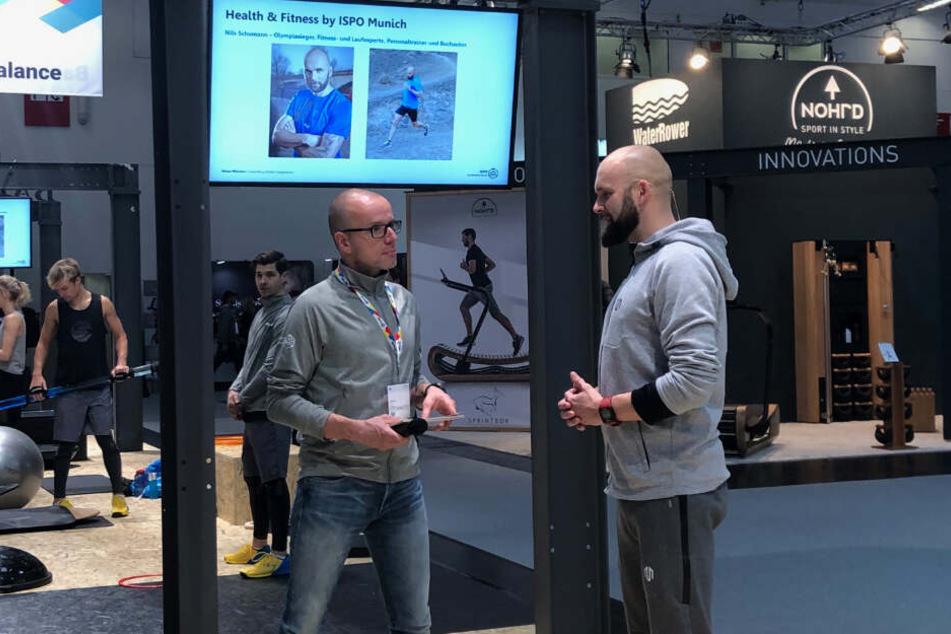 Olympiasieger Nils Schumann (40,r.) berichtete auf der ISPO in München von seinen Erfahrungen als Personal Trainer.