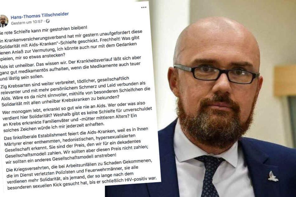 Die meisten Facebook-User reagierten schockiert auf den Post des AfD-Politikers Hans-Thomas Tillschneider.
