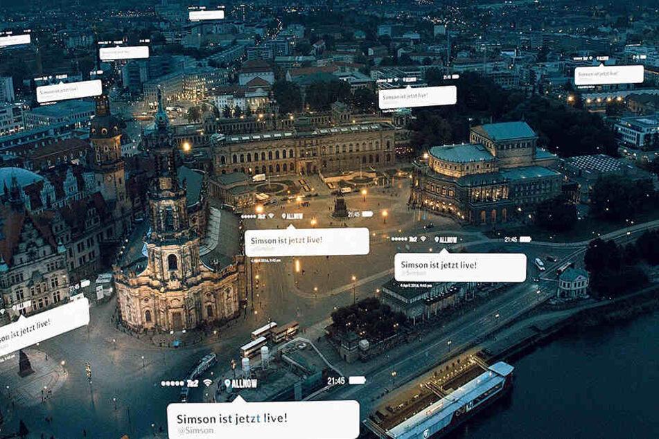 Immer wieder zeigen Luftaufnahmen: Ganz Dresden scheint online zu sein.
