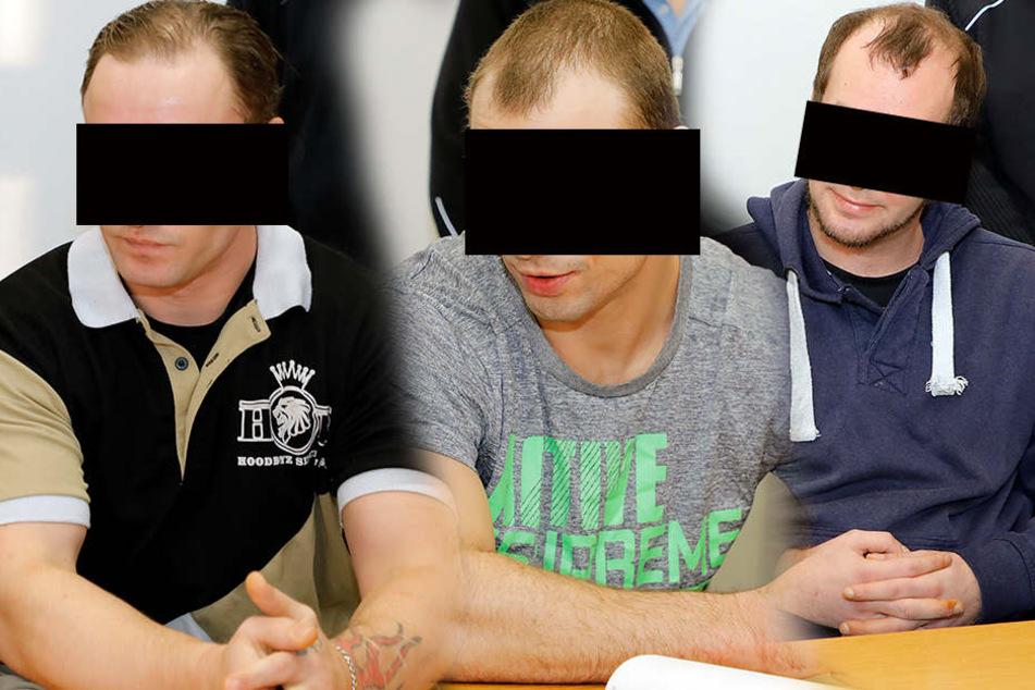 Ronny S., Michael M. und  Steve R. am Montag vor dem Landgericht in Chemnitz.