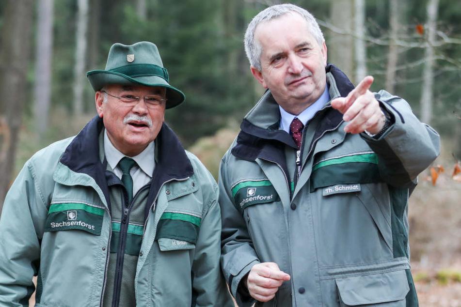 Sachsens Umweltminister Thomas Schmidt (56, CDU, re,) macht sich vor Ort ein Bild von den. Sturmschäden.