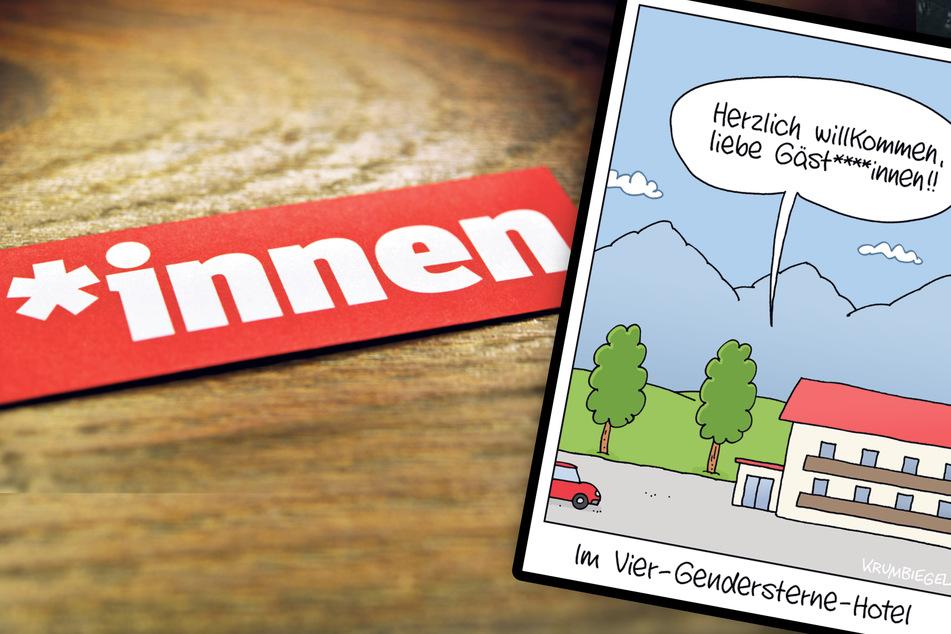 Der Gender-Zeitgeist hat den Karikaturisten Uwe Krumbiegel aus Hetzdorf inspiriert.
