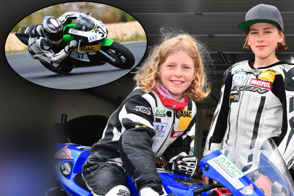 Krass! Anina (9) und Phil (12) legen sich am Sachsenring in die Kurven