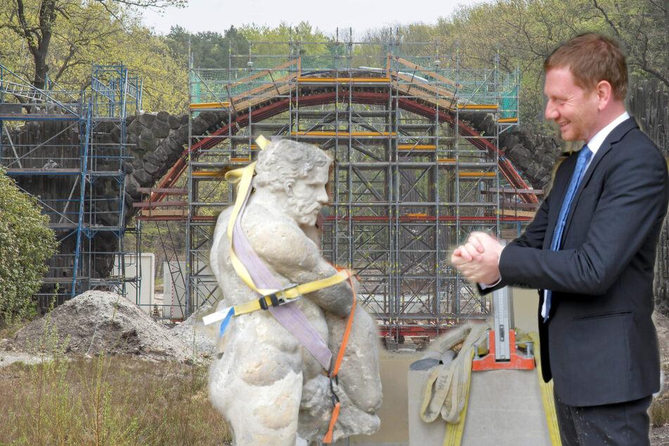 Der Sensationsfund von der Rakotz-Brücke: MP Kretschmer kam den Herkules gucken