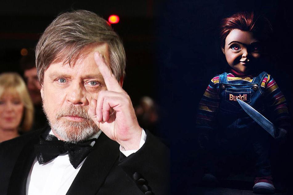 Star-Wars-Schauspieler Mark Hamill (l.) spricht Mörderpuppe Chucky (r.). (Bildmontage)