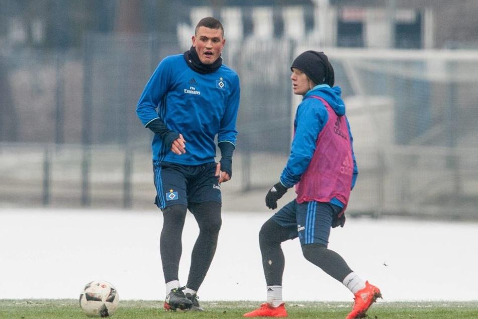 Training mit seinem neuen Team: Kyriakos Papadopoulos ist für ein halbes Jahr lang vom Hamburger Sportverein ausgeliehen.