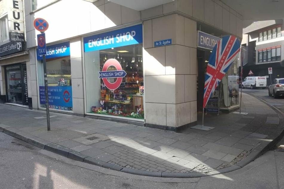 Der English-Shop in Köln an der Straße An St. Agatha 41 in der Nähe der Kölner Schildergasse.