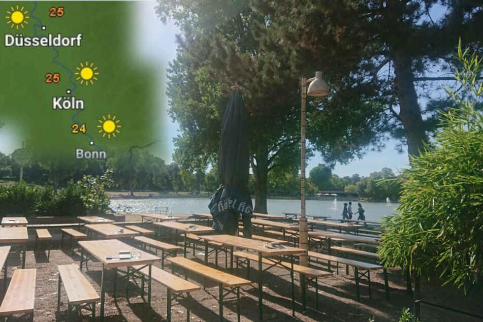 In den nächsten Tagen solltet Ihr am besten noch ein letztes Mal die Biergärten - wie hier am Aachener Weiher in Köln - nutzen.