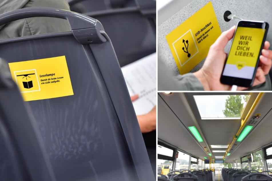 Literatur-Enthusiasten erwartet im Bus sogar Leselampen. Zudem stehen kostenloses WLAN und USB-Ladebuchsen zur Verfügung. (Bildmontage)