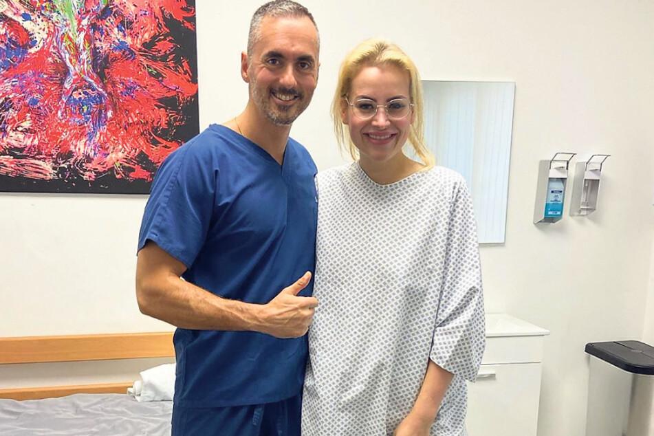 Prof. Nektarios Sinis (45) und Aline Bachmann (26) kündigen auf Instagram die nächste OP an.