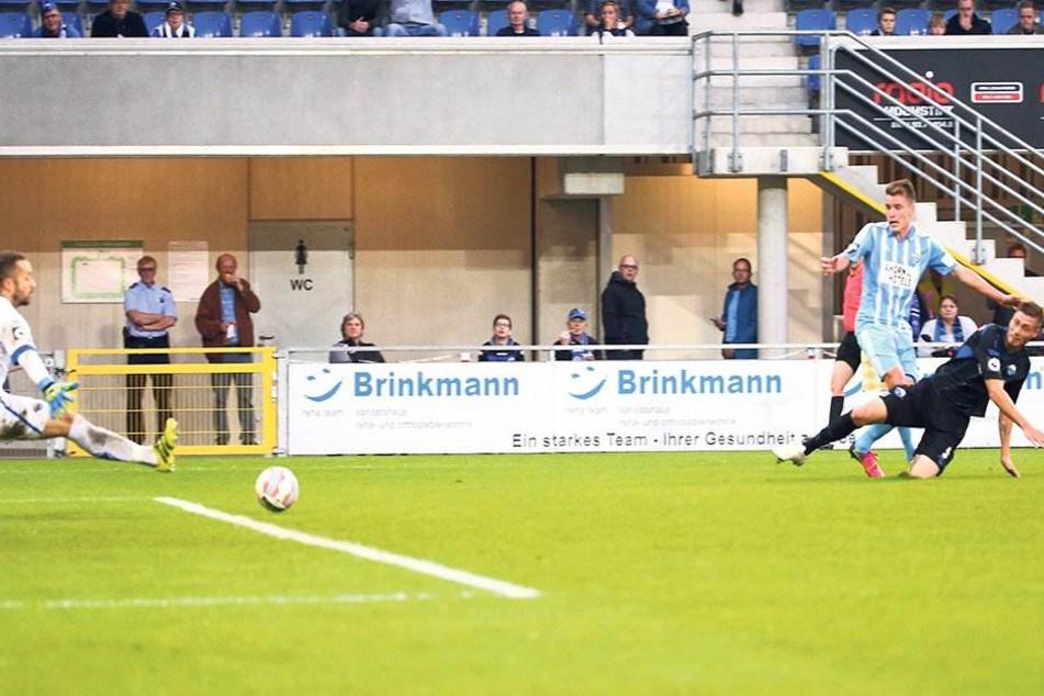 Sein erstes Drittligator erzielte Florian Hansch in der Hinrunde in Paderborn.