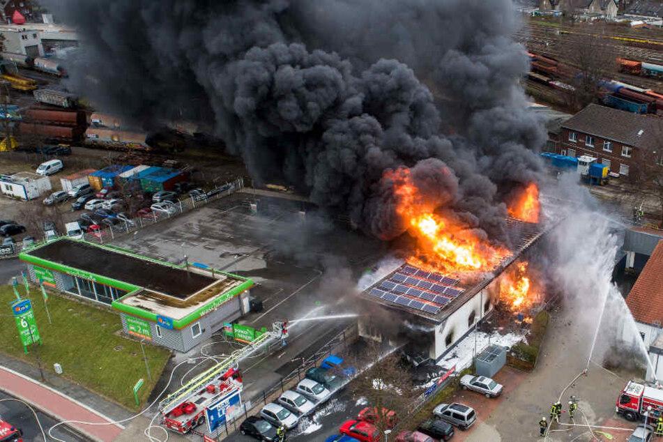 Riesen-Flammen und schwarze Rauchwolke: Feuerwehr kämpft gegen Großbrand