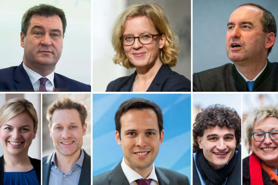 Die Spitzenkandidaten bei der Landtagswahl: Markus Söder (CSU; links oben nach rechts unten), Natascha Kohnen (SPD), Hubert Aiwanger (Freie Wähler), Katharina Schulze (Grüne), Lidwig Hartmann (Grüne), Martin Hagen (FDP), Ates Gürpinar (Linke) und Eva Bull