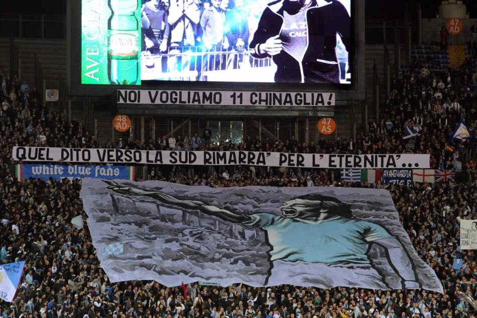 Die Lazio-Ultras mit einer Choreografie in der Curva Nord.