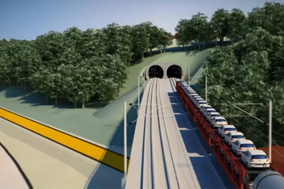 Bislang verläuft die Bahnstrecke nach Prag nur oberirdisch. Künftig befinden sich 26 der 43 Kilometer in Tunnelröhren.