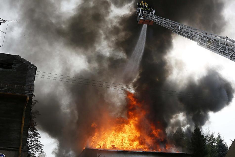 Die Feuerwehr beim Löschen des Großbrandes.