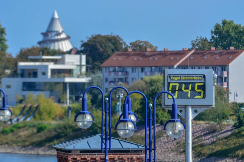 Im Bereich der Strombrücke in Magdeburg erreichte die Elbe einen neuen Tiefstand von 45 Zentimetern.