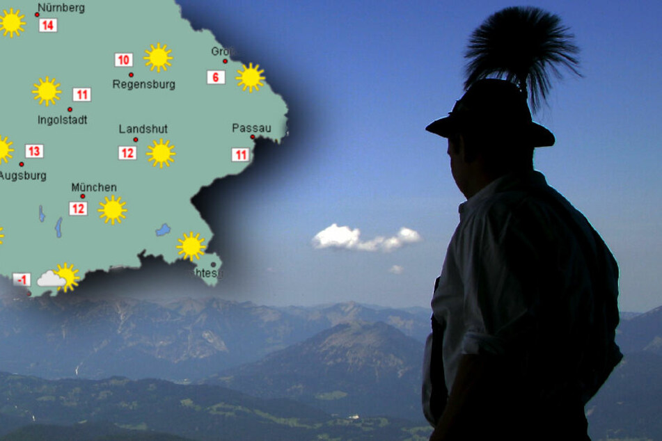Am Sonntag wird es in Bayern frühlingshaft sonnig und warm. (Bildmontage)