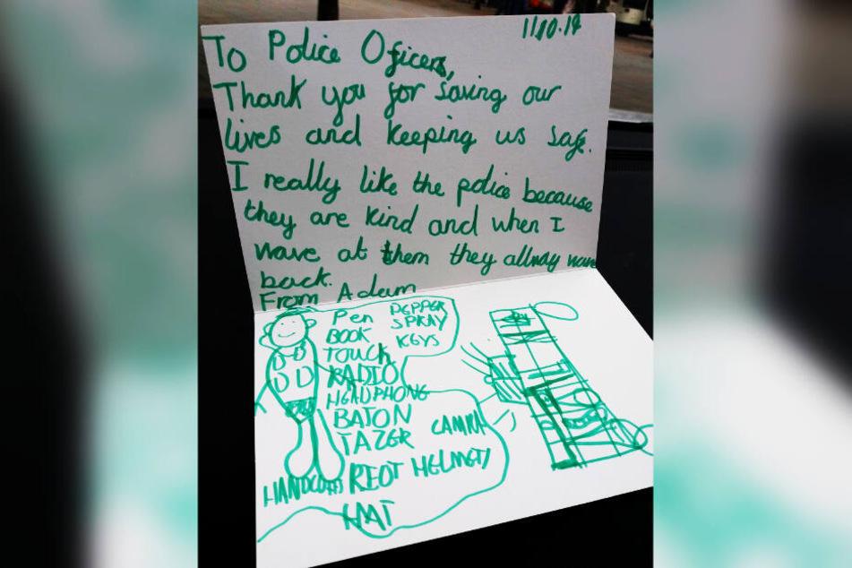 """""""Danke, dass Ihr unsere Leben rettet und uns beschützt"""", hat Adam in dem Brief geschrieben."""