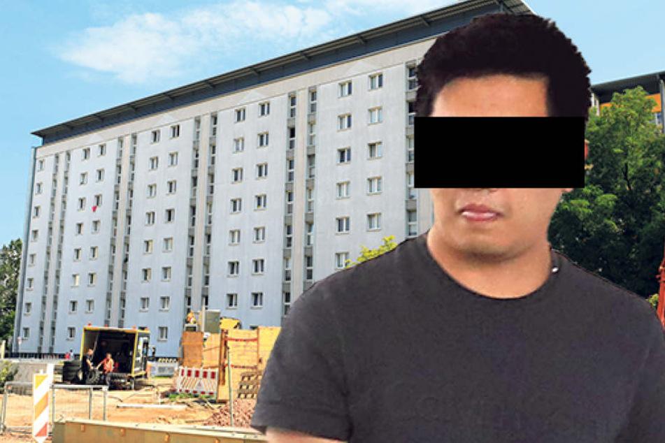 In diesem Uni-Wohnheim (l.) eskalierte der Streit. Jetzt ist Yajie Y. (26)  vorm Amtsgericht Chemnitz angeklagt.