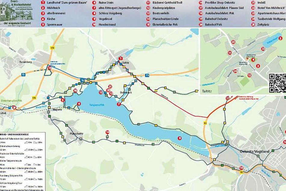 So sieht der neue Routenplaner für Wanderfreunde rund um die Talsperre Pirk aus.