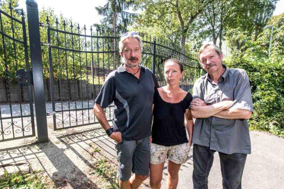 Hier fingen und fesselten (v.l.) Jörg Neubert, Susann Barischnik und Matthias Grummich einen Einbrecher.