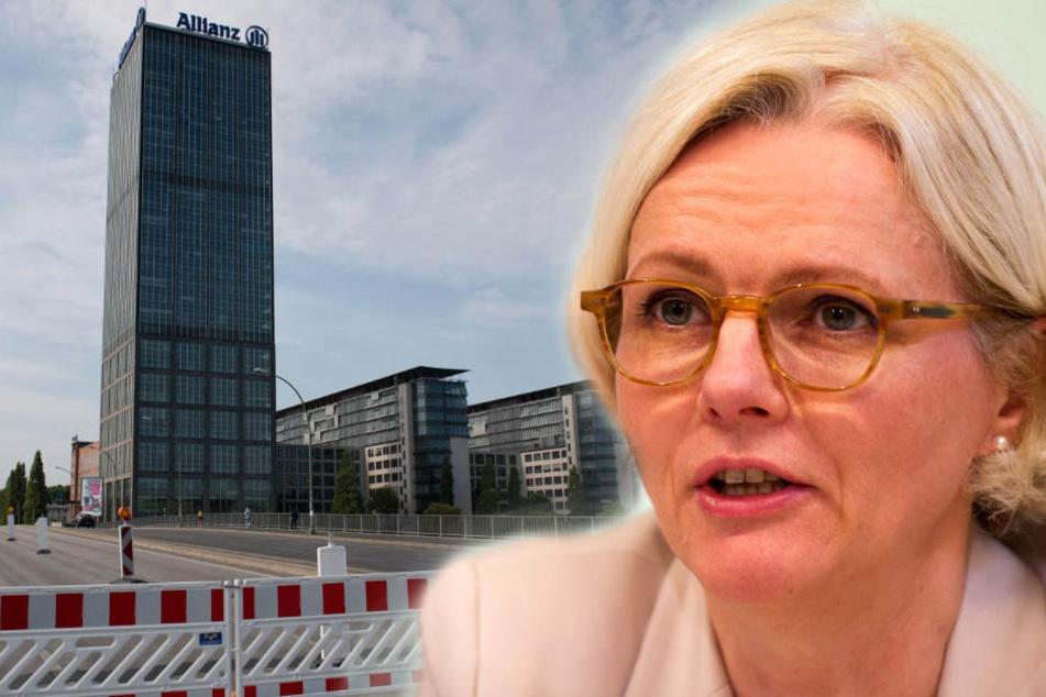 Regine Günther (56, parteilos) vor der gesperrten Elsenbrücke. (Bildmontage)