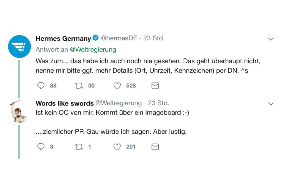 Der Hermes-Mitarbeiter, der den Twitter-Account betreut, zeigt sich sichtlich schockiert und will den Fall unter die Lupe nehmen, aber keiner weiß woher das Video eigentlich kommt oder wie alt es ist.