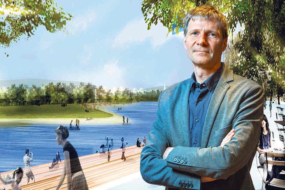 """Landschaftsarchitekt Till Rehwaldt (51) kämpft seit Ende 2015 um sein Projekt  """"Ostrasee""""."""
