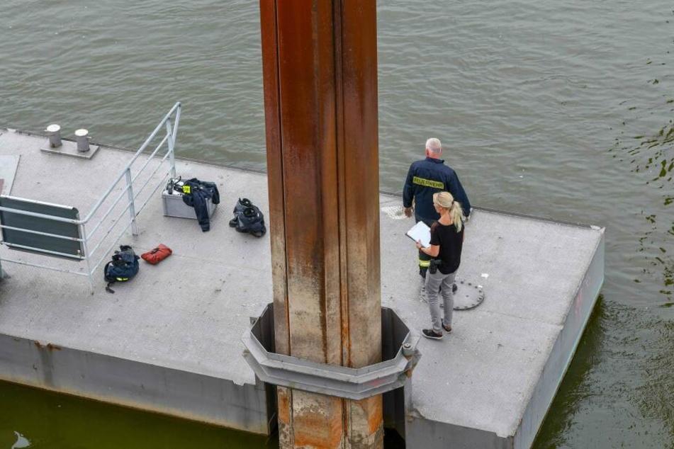 Die Leiche wurde an einem Ponton unterhalb der Herrenkrugbrücke entdeckt.