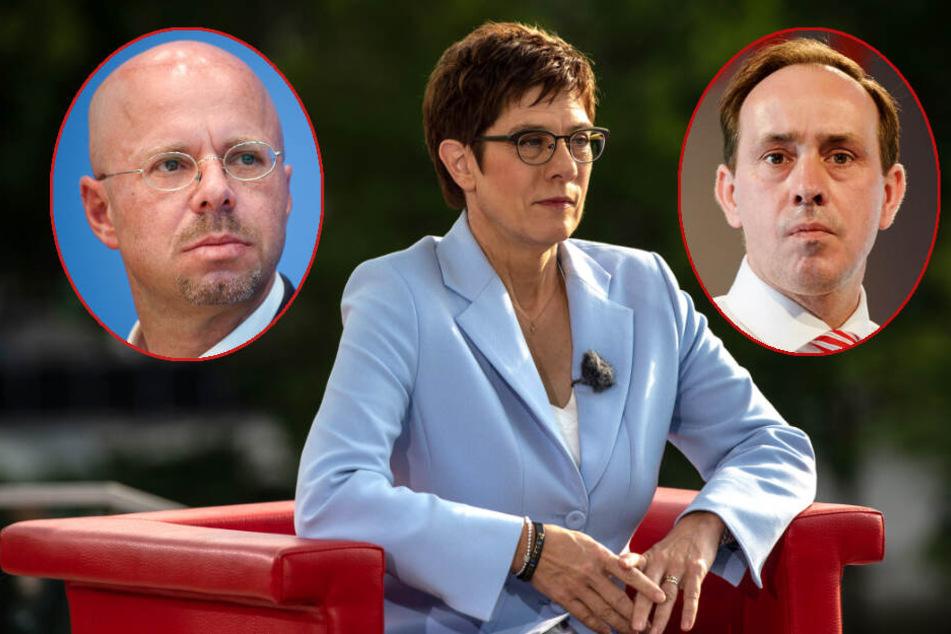 """Annegret Kramp-Karrenbauer hat """"höchste Achtung"""" vor dem Rücktritt von Ingo Senftleben (r.). Außerdem schließt AKK eine Kooperation mit der AfD aus."""