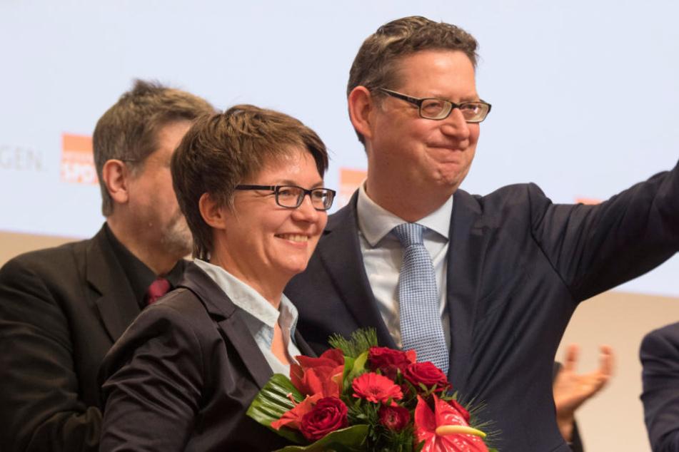 Thorsten Schäfer-Gümbel mit seiner Frau Anette auf dem Landesparteitag in Frankfurt.