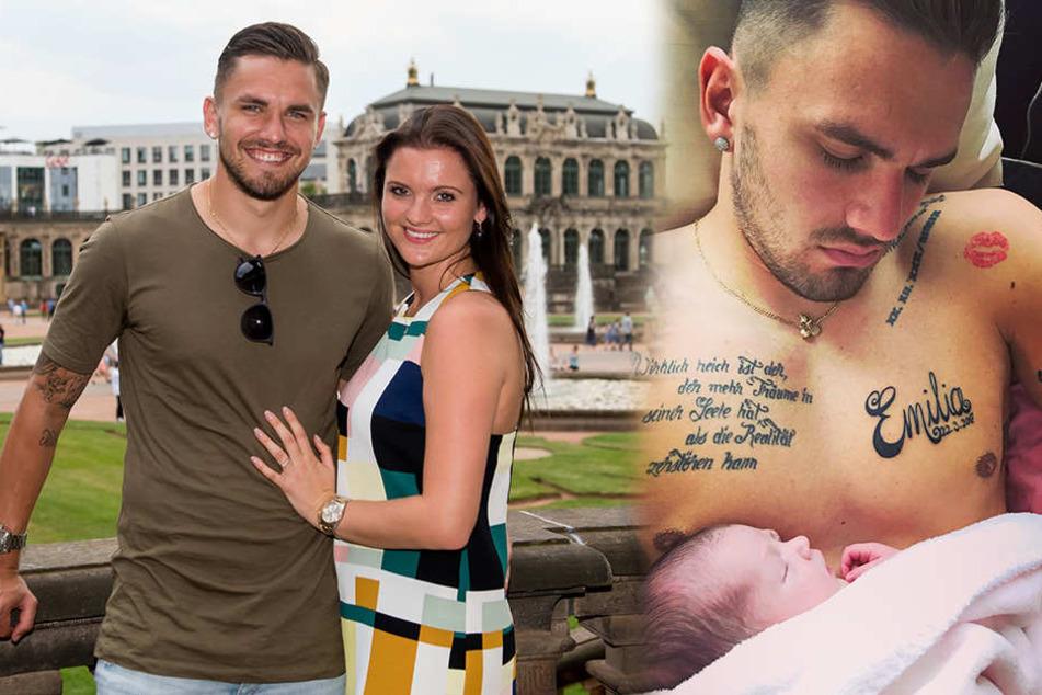 Michelle und Pascal Testroet sind seit dem 22. März stolze Eltern der kleinen Emilia, die nun sogar die Brust des Stürmers ziert.