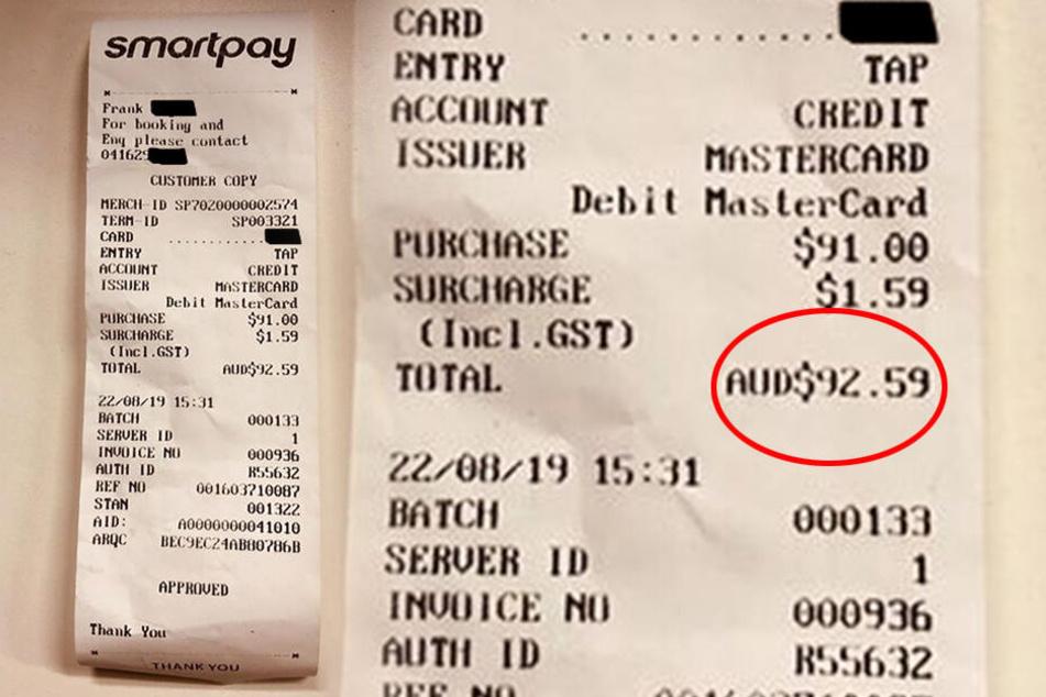 92,59 Australische Dollar (rund 56 Euro) zahlte ein Taxigast für 10 Minuten Fahrt.