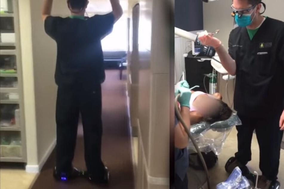 Idiotischer Zahnarzt zieht Patientin Zahn, während er auf einem Hover-Board steht