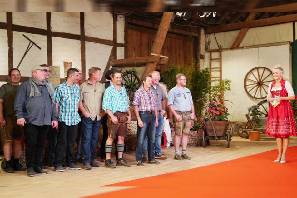 Inka Bause (49, rechts) und die zwölf liebeshungrigen Bauern der 14. Staffel.