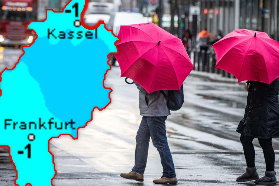 Fotomontage: Am Wochenende wird's in Hessen ziemlich ungemütlich.