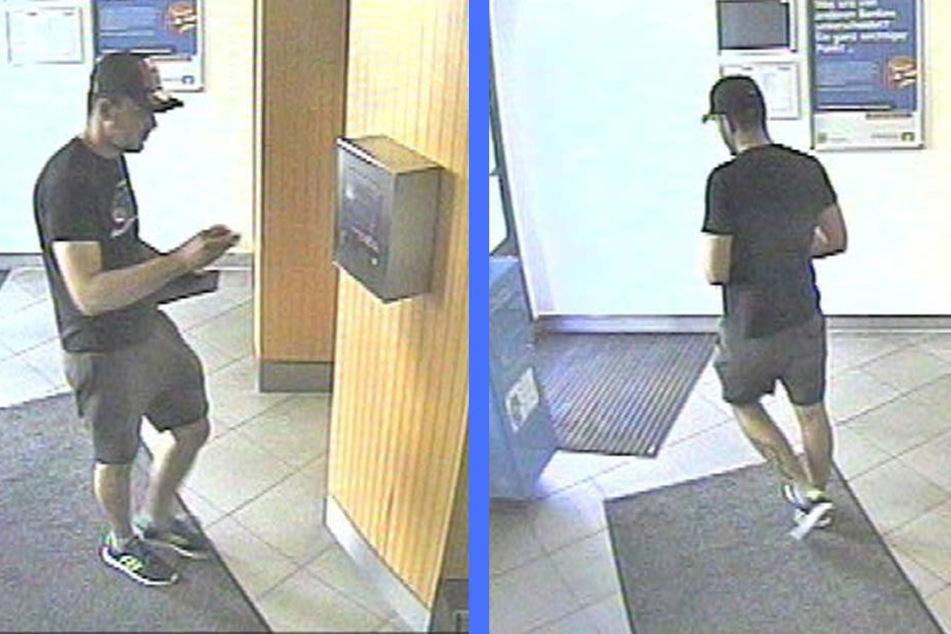 Eine Überwachungskamera filmte den mutmaßlichen Betrüger in einer der Bankfilialen.