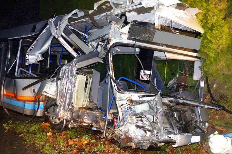 Totales Wrack! Busfahrer schleudert gegen Baum