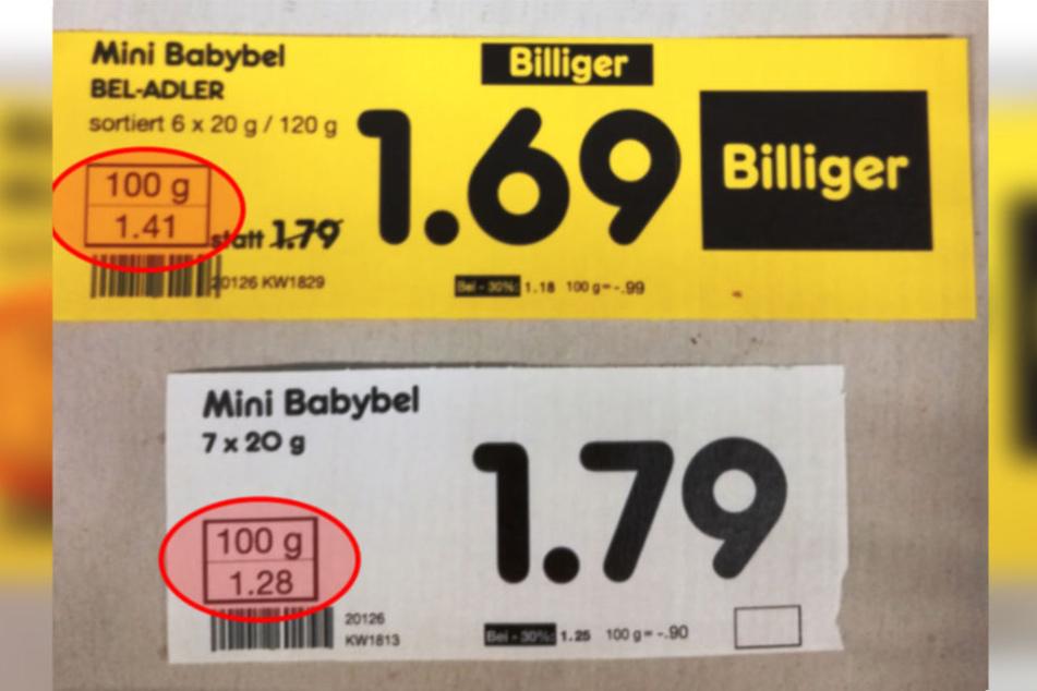 """Der Vergleich der Preisschilder macht deutlich: """"Billiger"""" wurde hier nur der Endpreis."""