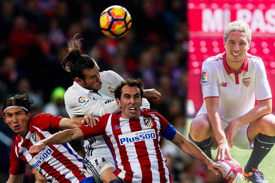 Filipe Luis (l.), Juanfran (Zweiter von rechts) und Samir Nasri (r.) müssen sich allesamt einen neuen Klub suchen. (Bildmontage)