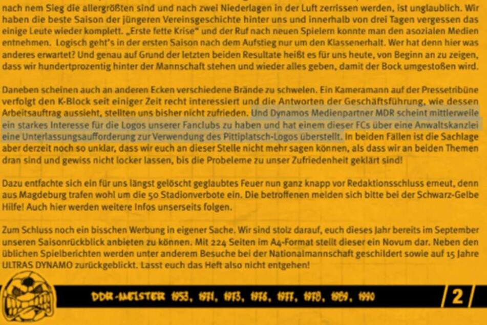 In ihrem Fanzine zum Spiel gegen Würzburg informierten die Ultras Dynamo über die MDR-Pläne.