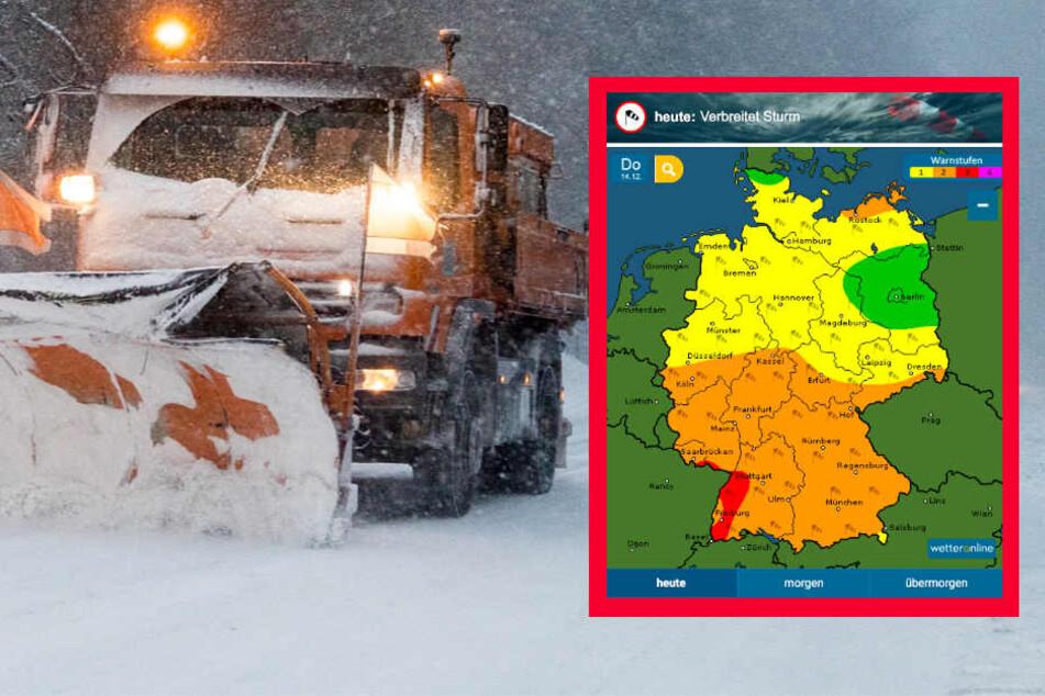 Lokal sind bis zu zehn Zentimeter Neuschnee möglich. Der Dienst wetteronline.de (Grafik) sagt Sturm voraus.