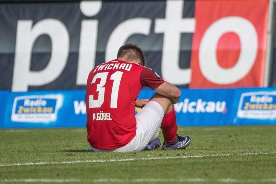 Zwickaus Patrick Göbel nach dem bitteren 1:2 gegen Erfurt. Er war der beste  FSV-Kicker an diesem Tag. Genützt hat es nichts.