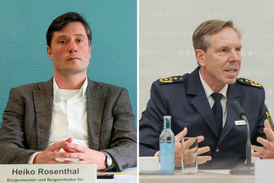 Heiko Rosenthal (46, Linke) und der Leipziger Polizeipräsident Torsten Schultze (55) stehen in der Kritik.