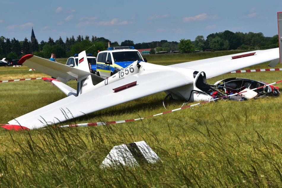 Am Samstagmittag sind zwei Menschen im brandenburgischen Heidesee bei einem Unfall mit einem Segelflugzeug schwer verletzt worden.